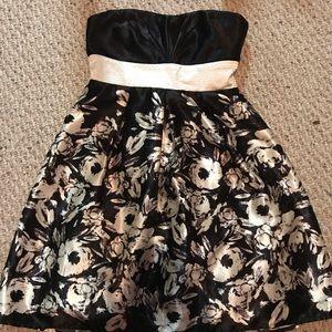 Strapless black and white flower semi formal dress